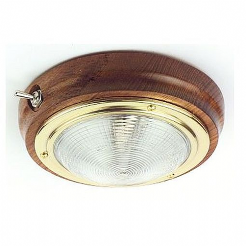 Teak Interior Switched Light with Brass Trim